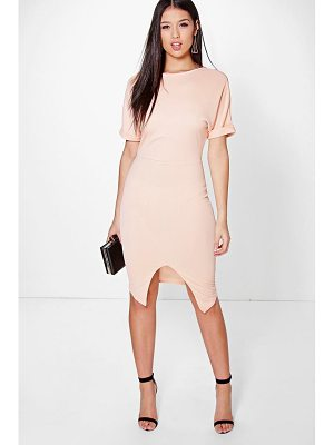 Boohoo Clarice Crepe Wrap Skirt Detail Fitted Dress