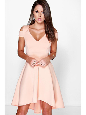 Boohoo Off The Shoulder Plunge High Low Skater Dress
