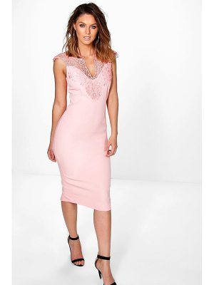 BOOHOO Coral Crochet Top Panel Midi Bodycon Dress