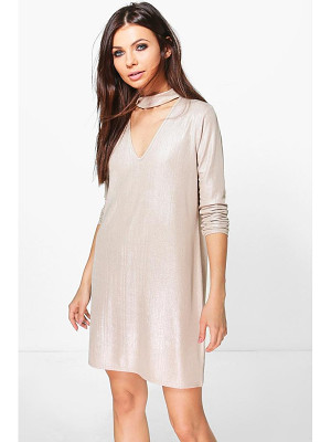 BOOHOO Daffy Metallic Choker Shift Dress