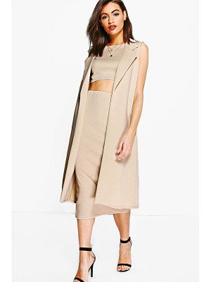 Boohoo Daisy 3 Piece Crop, Skirt & Duster Co-ord