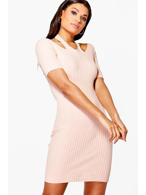 BOOHOO Daisy Cut Out Shoulder Rib Knit Jumper Dress