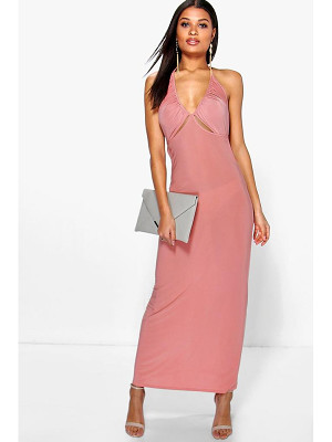 BOOHOO Dalia Ruched Halterneck Cut Out Maxi Dress