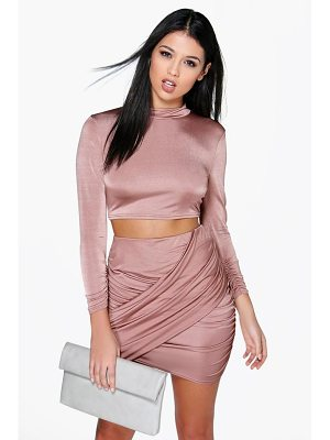 Boohoo Slinky Wrap Mini Skirt Co-Ord Set