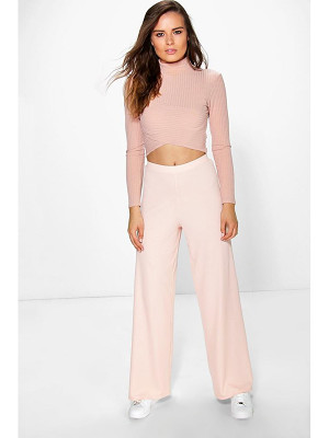 Boohoo Darcey Ribbed Wide Leg Trousers