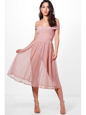 BOOHOO Darcy Mesh Skirt Midi Skater Dress