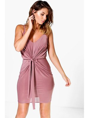 BOOHOO Davisa Slinky Knot Detail Bodycon Dress