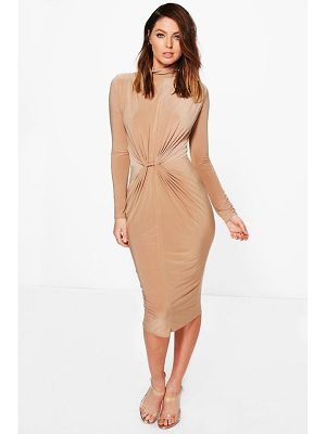 BOOHOO Deborah High Neck Ruched Slinky Midi Dress