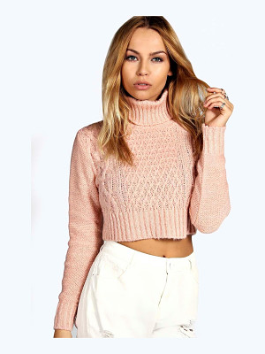 BOOHOO Diana Turtle Neck Cable Crop Jumper