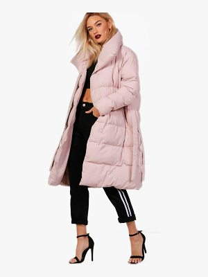 BOOHOO Dionne Longline Padded Tie Front Coat