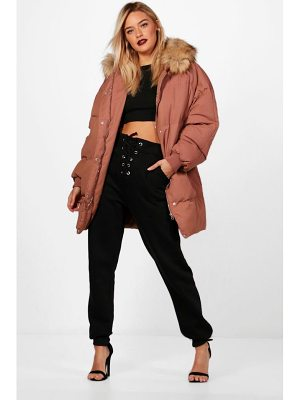 BOOHOO Eleanor Boutique Padded Coat With Faux Fur Trim