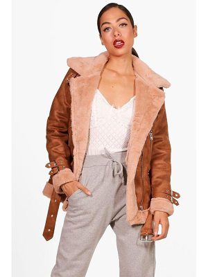 Boohoo Eleanor Suedette Aviator Jacket