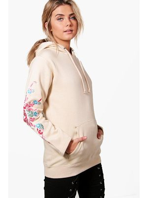 BOOHOO Eliza Embroidered Sleeve Hoody