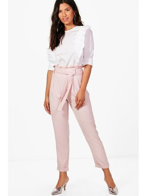 BOOHOO Eliza Premium Paperbag Waist Tailored Trouser
