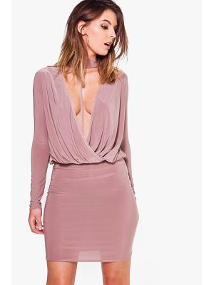 BOOHOO Eliza Slinky Wrap Choker Bodycon Dress