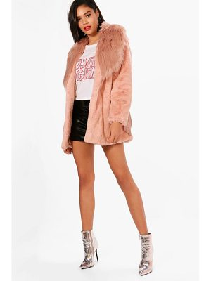 Boohoo Elizabeth Boutique Mix Faux Fur Belted Coat