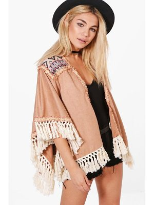 BOOHOO Ella Boutique Embroidered Tassel Suedette Cape