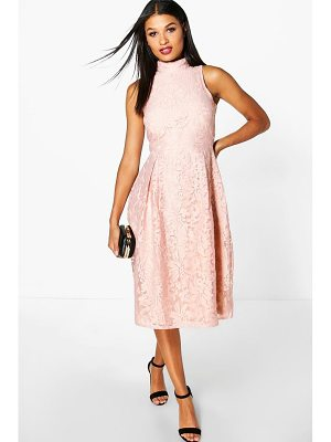 BOOHOO Elle Embroidered High Neck Midi Skater Dress