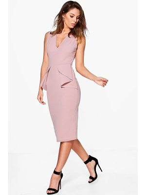 BOOHOO Ellie Fold Peplum Waist Formal Midi Dress