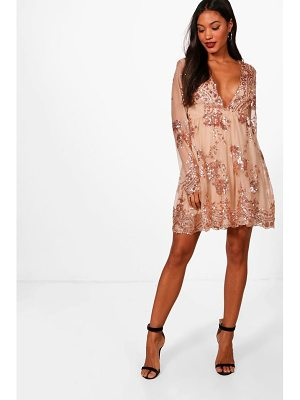 Boohoo Ellie Sequin and Mesh Long Sleeve Skater Dress