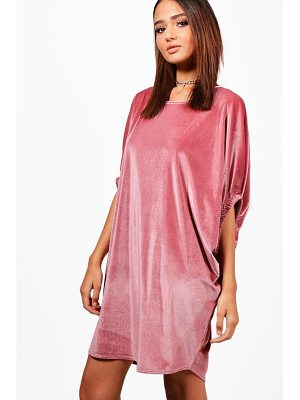 Boohoo Velvet Elasticated Sleeve Shift Dress
