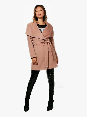 BOOHOO Eloise Belted Waterfall Coat