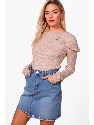 BOOHOO Eloise Rib Jumper With Frill Shoulders