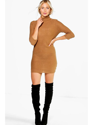 BOOHOO Eloise Roll Sleeve Knitted Dress