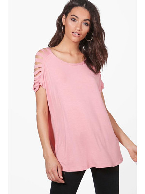 BOOHOO Emery Distressed Shoulder T-Shirt