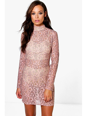 BOOHOO Emiko High Neck All Over Lace Bodycon Dress