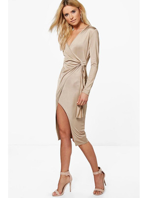 BOOHOO Emilt Slinky Long Sleeve Wrap Midi Dress