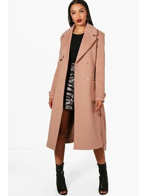 BOOHOO Emily Belted Wool Look Trench Coat