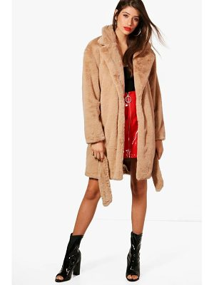 BOOHOO Emily Boutique Belted Faux Fur Coat