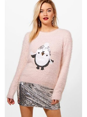BOOHOO Emily Fluffy Knit Sequin Penguin Christmas Jumper