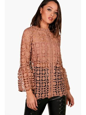 BOOHOO Emily High Neck Bell Sleeve Lace Top