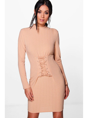 BOOHOO Emily Lace Up Corset Rib Knit Dress