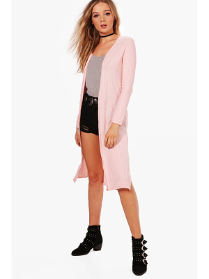 BOOHOO Emily Rib Knit Side Split Maxi Cardigan