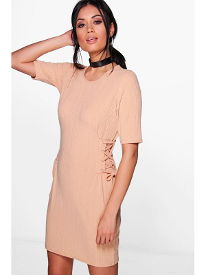 BOOHOO Emma Lace Up Corset Rib Knit T-Shirt Dress