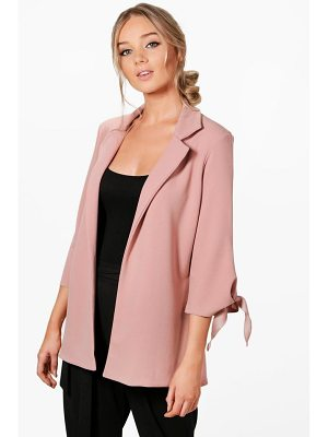 Boohoo Emma Tie Cuff Tailored Blazer
