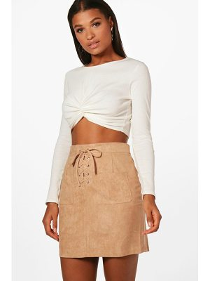 BOOHOO Enna Lace Up Front Suedette Mini Skirt