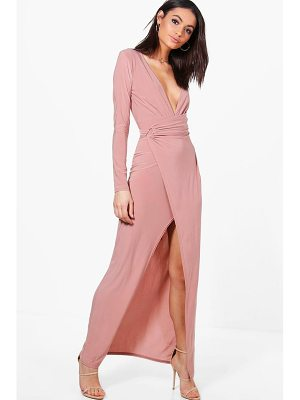 BOOHOO Erin Slinky Wrap Detail Maxi Dress