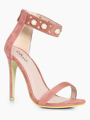 Boohoo Esme Pearl And Stud Embellished 2 Part Heels