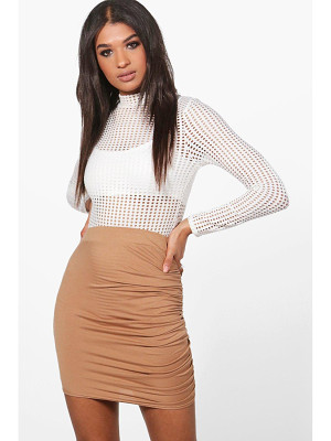 Boohoo Esme Rouched Side Jersey Mini Skirt