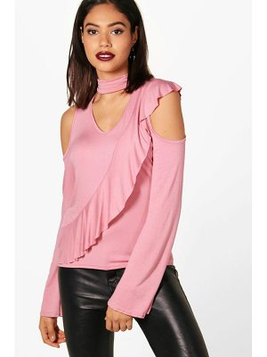 Boohoo Eva Cold Shoulder Ruffle Sleeve Choker Top