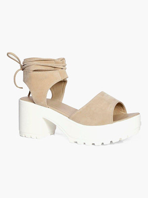 Boohoo Peeptoe Wrap Over Cleated Sandals