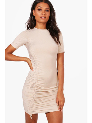 BOOHOO Eva Ruched Tie Cap Sleeve Bodycon Dress