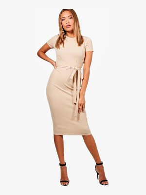 Boohoo Tie Waist Fitted Dress