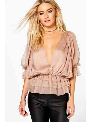 BOOHOO Evie Ruffle Detail Wrap Over Blouse