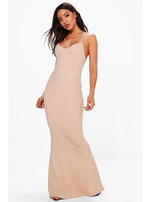BOOHOO Evie Strappy Detail Fishtail Maxi Dress