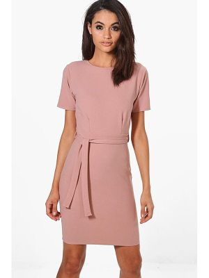 BOOHOO Evy Pleat Front Belted Tailored Dress